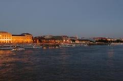 Nachtmening over Boedapest, Hongarije, Europa royalty-vrije stock afbeeldingen