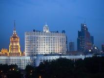 Nachtmening over het centrum van Moskou Royalty-vrije Stock Fotografie