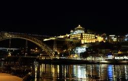 Nachtmening over Klooster van Serra do Pilar Het architecturale oriëntatiepunt van Gaia porto royalty-vrije stock afbeelding
