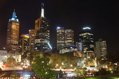 Nachtmening over Yarra-Rivier Royalty-vrije Stock Foto