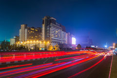 Nachtmening in Phnom penh, Kambodja Royalty-vrije Stock Fotografie