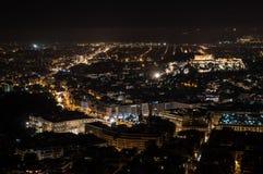 Nachtmening van Akropolisandsyntagma Royalty-vrije Stock Foto's