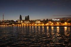 Nachtmening van Baku stad Royalty-vrije Stock Afbeelding