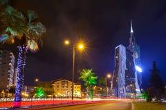 Nachtmening van Batumi stock foto's