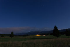 Nachtmening van Cansiglio-Vlakte Stock Foto