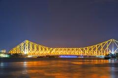 Nachtmening van de brug van Howrah Stock Afbeeldingen