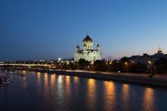 Nachtmening van de Moskva-Rivier en Christus de Verlosserkathedraal Stock Fotografie