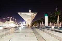 Nachtmening van de promenade van Malaga in de avond royalty-vrije stock foto's