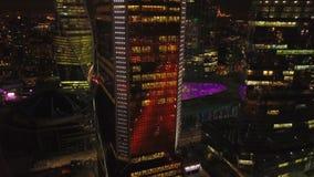 Nachtmening van de stad van Moskou stock footage