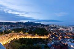 Nachtmening van de stad van Seoel, Zuid-Korea Royalty-vrije Stock Afbeeldingen