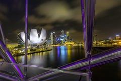 Nachtmening van de stadshorizon van Singapore in Singapore royalty-vrije stock foto