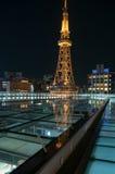 Nachtmening van de Toren van TV van Nagoya ` s Royalty-vrije Stock Foto's