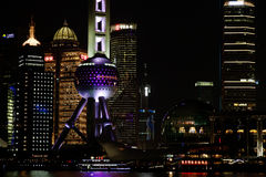 Nachtmening van de van de lujiazuifinanciën en handel van Shanghai streekhorizon Royalty-vrije Stock Foto's