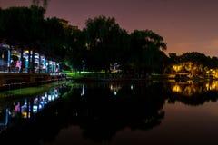Nachtmening van een park Stock Afbeeldingen