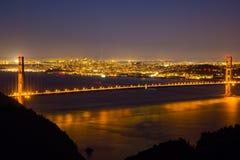 Nachtmening van golden gate bridge 3 Stock Fotografie