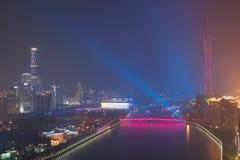 Nachtmening van Guangzhou China royalty-vrije stock afbeeldingen