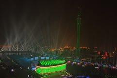 Nachtmening van Guangzhou China stock afbeelding