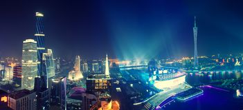 Nachtmening van Guangzhou China royalty-vrije stock foto's