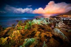 Nachtmening van het natuurreservaat Monte Cofano Stock Afbeelding