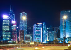 Nachtmening van het oriëntatiepunt van Hong Kong Royalty-vrije Stock Foto's