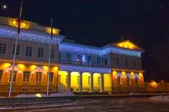Nachtmening van het Presidentiële Paleis in Vilnius met Kerstmisverlichting, Litouwen Stock Foto's