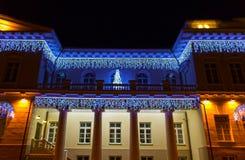 Nachtmening van het Presidentiële Paleis in Vilnius met Kerstmisverlichting, Litouwen Stock Afbeelding