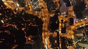 Nachtmening van Hong Kong-eiland voorraad Wolkenkrabbers in commercieel centrum van Hong Kong Hong Kong is een populaire toerist stock videobeelden