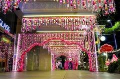 Nachtmening van Kerstmisdecoratie Royalty-vrije Stock Foto