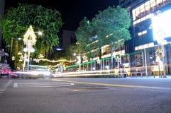 Nachtmening van Kerstmisdecoratie Royalty-vrije Stock Afbeelding