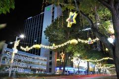 Nachtmening van Kerstmisdecoratie Stock Afbeeldingen