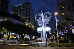 Nachtmening van Kerstmisdecoratie bij de Boomgaardweg van Singapore Royalty-vrije Stock Foto