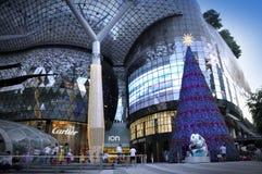 Nachtmening van Kerstmisdecoratie bij de Boomgaardweg van Singapore Stock Foto