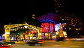 Nachtmening van Kerstmisdecoratie bij de Boomgaardweg van Singapore op 19 November, 2014 Royalty-vrije Stock Foto