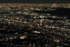 nachtmening van Kobe stock afbeelding