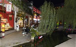Nachtmening van lijiang shuhe oude stad royalty-vrije stock fotografie