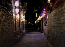 Nachtmening van lijiang shuhe oude stad royalty-vrije stock foto