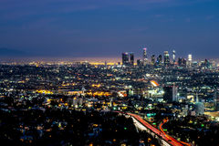 Nachtmening van Los Angeles van Hollywood-Heuvels Stock Afbeelding