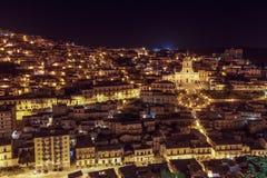 Nachtmening van Modica Royalty-vrije Stock Fotografie