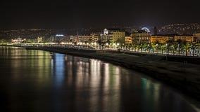 Nachtmening van Nice Frankrijk Royalty-vrije Stock Foto
