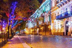 Nachtmening van Odessa, de Oekraïne royalty-vrije stock foto's