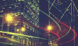 Nachtmening van Onscherpe Lichten in een Stadsconcept stock fotografie