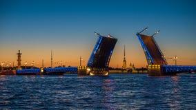 Nachtmening van Paleisbrug, Heilige Petersburg, Rusland Stock Foto's
