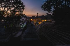 Nachtmening van Pashupatinath-Tempel Katmandu royalty-vrije stock fotografie