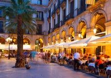 Nachtmening van Placa Reial Stock Afbeelding