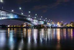 Nachtmening van Poniatowski-brug Royalty-vrije Stock Foto