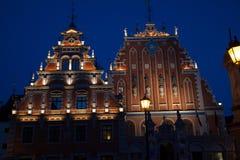 Nachtmening van Riga Royalty-vrije Stock Afbeeldingen