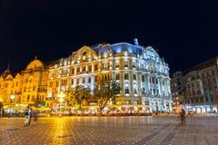 Nachtmening van stadscentrum in Timisoara op 22 Juli, 2014 Royalty-vrije Stock Fotografie