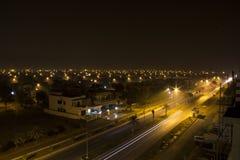 Nachtmening van Stedelijke Stad Royalty-vrije Stock Afbeeldingen
