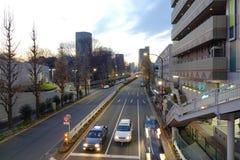 Nachtmening van straat in Tokyo, Japan Royalty-vrije Stock Fotografie