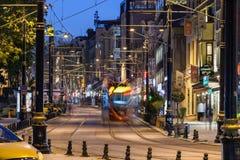 Nachtmening van Sultanahmet-district in Istanboel royalty-vrije stock foto